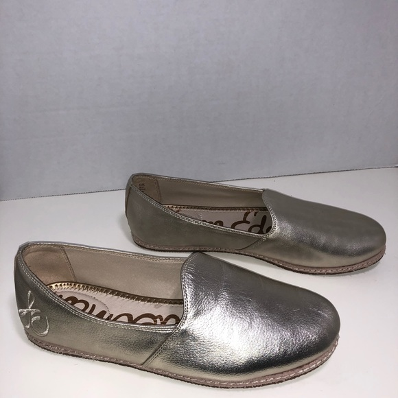Sam Edelman Everie Gold Leather Slip On Flats
